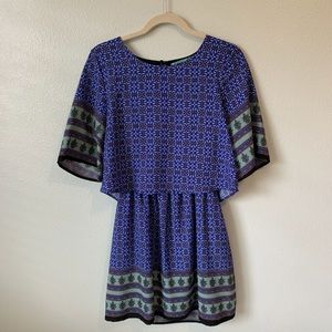 royal blue patterned overlapping t-shirt dress